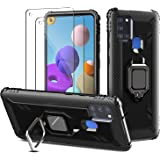 PULEN for Samsung Galaxy A21s Case with 2 Pack Screen Protector,Hybrid Armor Metal Ring Holder Magnetic Car Mount,Full Body S