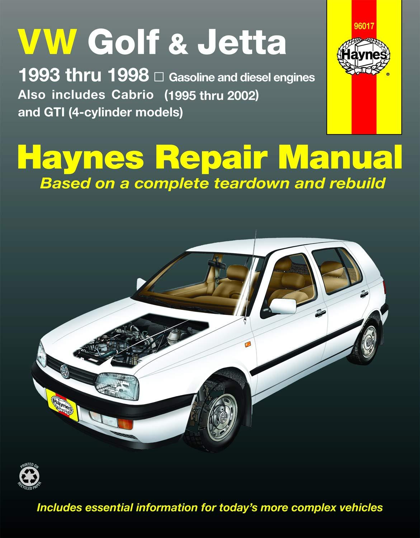 VW Golf, GTI & Jetta (93-98), Cabrio (95-02), with 1.8L & 2.0L Gas Engines  & 1.9L Diesel Engine Haynes Repair Manual (Does not include 2.8L VR6 engine.):  Haynes, John H: 9781563927126: Amazon.com: BooksAmazon.com