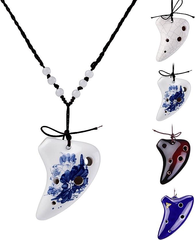 Black LMS 6 Hole Ceramic Ocarina Soprano C Strawfire Finish Necklace Flute with Free Tutorial /& Songbook