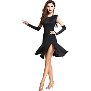 9ffdaa27c4919 Amazon.com: Motony Fashion Sleeveless V-Neck Latin Dance Dress Rumba ...