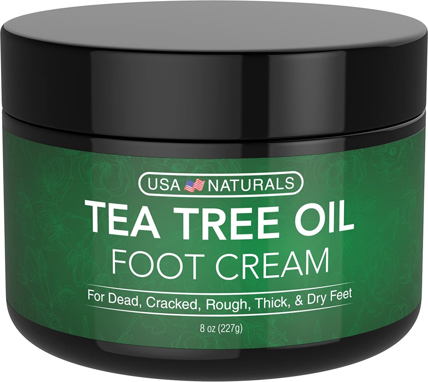Tea Tree Oil Foot Cream - Instantly Hydrates and Moisturizes Cracked or Callused Feet - Rapid Relief Heel Cream - Antifungal Treatment Helps & Soothes Irritated Skin, Athletes Foot, Body Acne USA Naturals 4oz Foot Cream