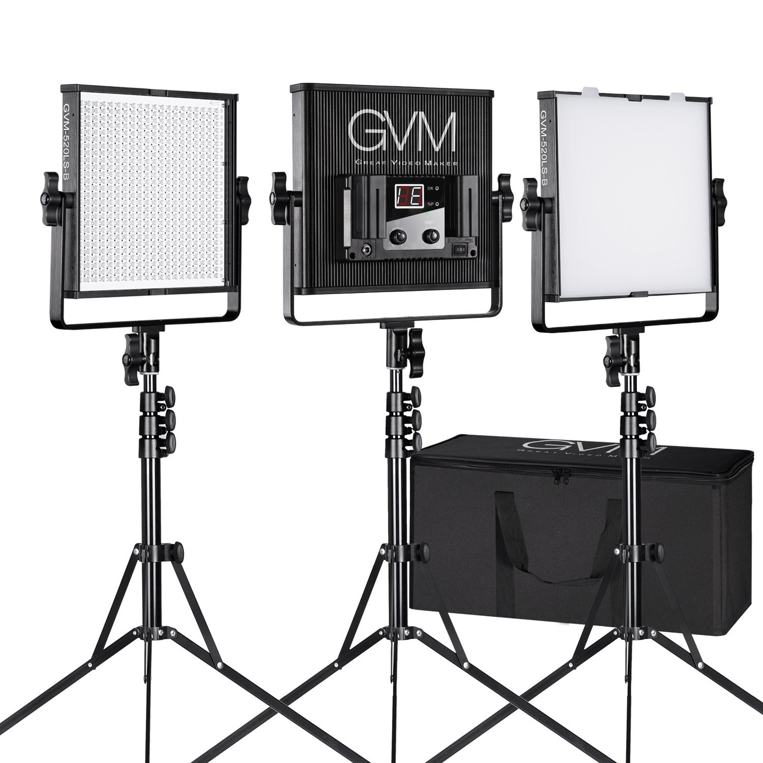 LED Video Light GVM 520LS CRI97+ TLCI97+ 18500lux Dimmable Bi-color 3200K-5600K Light For Outdoor Interview Studio Portrait Photographic 3 pcs Kit