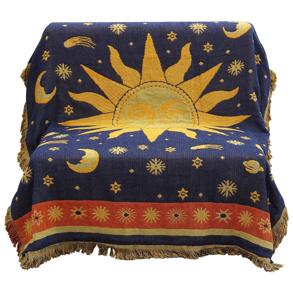 "MUIFA 50"" X 70"" Double Sided Cotton Woven Couch Throw Blanket Featuring Decorative Tassels - Sun Moon Stars, Yellow/Blue"