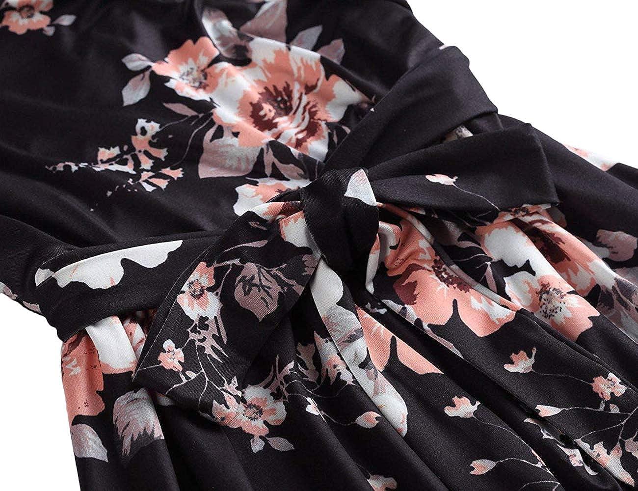 Lrady Womens Casual Tunic Mini Flowy Swing A-Line Short Party Button Shirt Dress