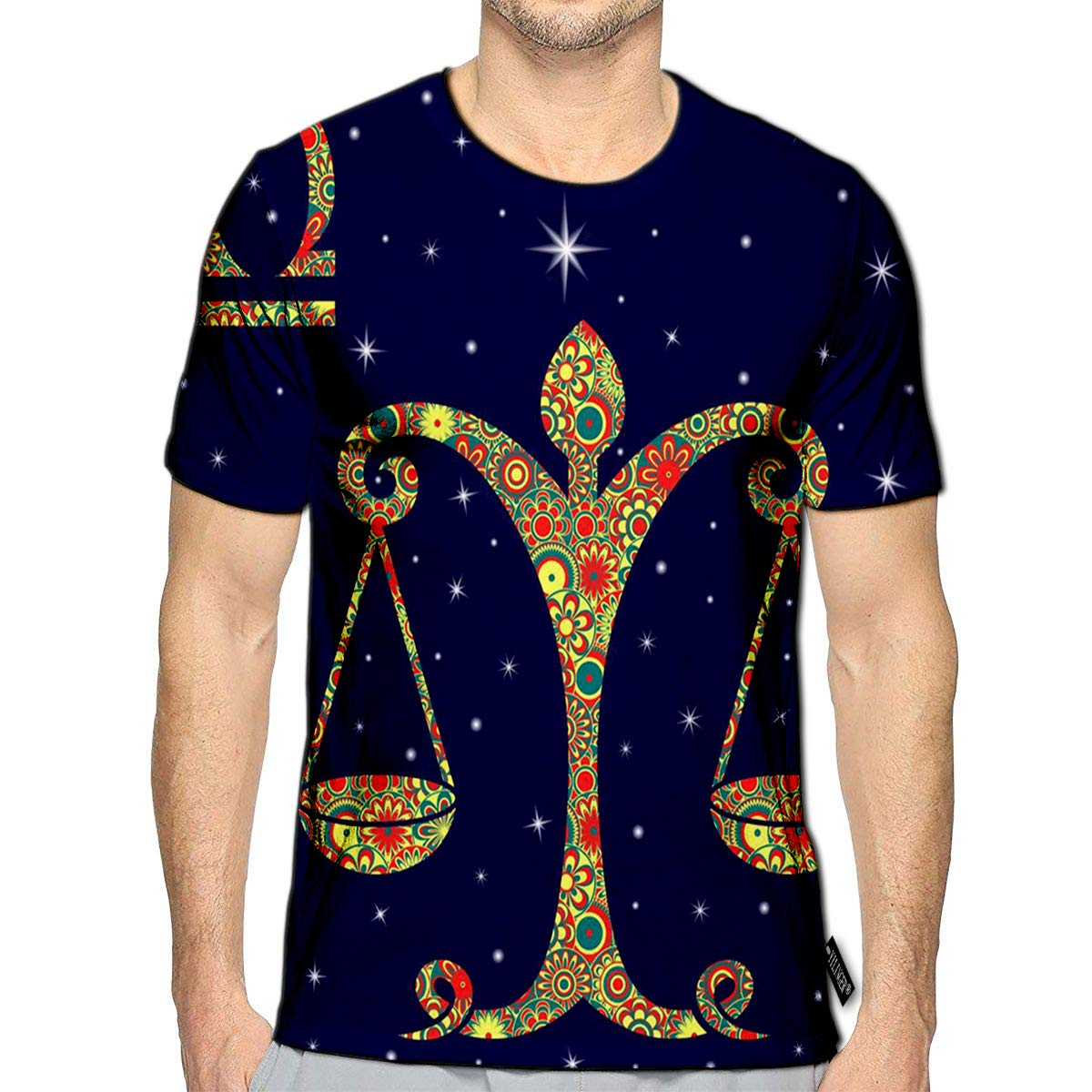 T-Shirt 3D Printed Zodiac Sign Libra with Colorful Flowers Fill in Warm Hues Blue Starry Sky Casual Tees