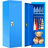 HONEY JOY 48 Inch Kids Metal Storage Locker, 1 Door 2 Tier Steel Locker Storage Cabinet with Hanging Rod & Key, Named Card, K