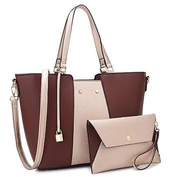 abd5477a8798 Amazon.com: MK Belted collection Fashion Hobo Handbag for Women~2 PCS  Women's GOLD Tote Bag Satchel Handbag Shoulder Bags W coin purse(Coffee/Gold):  Marco ...