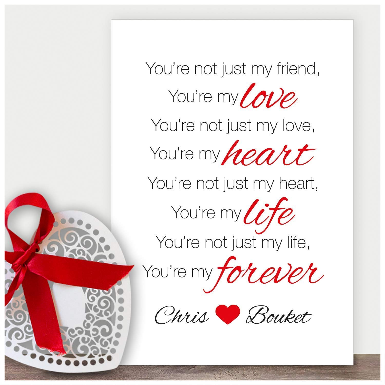 Personalised Love Gifts Birthday Framed Keepsake Present Card Poem Him Her Mr
