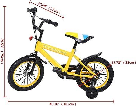 MuGuang 14 Pulgadas Bicicleta Infantil Estudio Aprendizaje Montar a Caballo Bicicleta niños niñas Bicicleta con ruedines con Campana por 3-8 años (Amarillo): Amazon.es: Deportes y aire libre