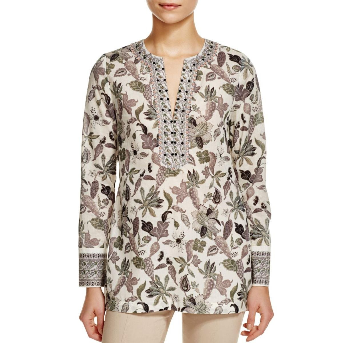 Tory Burch Womens Cotton Embellished Tunic Top Ivory 6