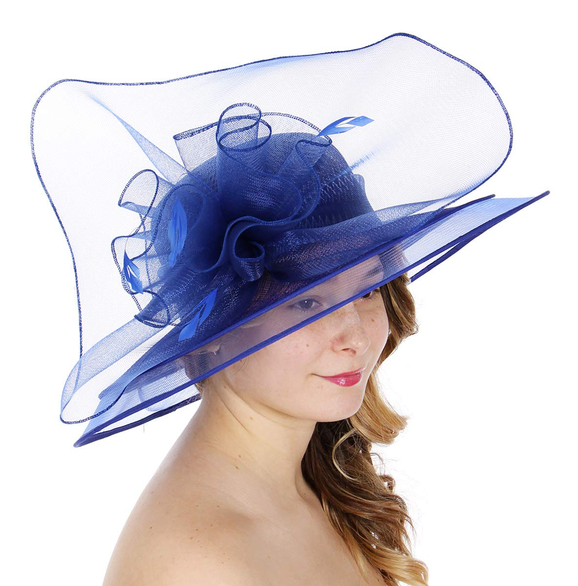 Dress Derby hat Women, for Church Party Kentucky Bridal Wedding Cocktail, Wide Brim Flower Cloche Bucket, Royal Blue 1