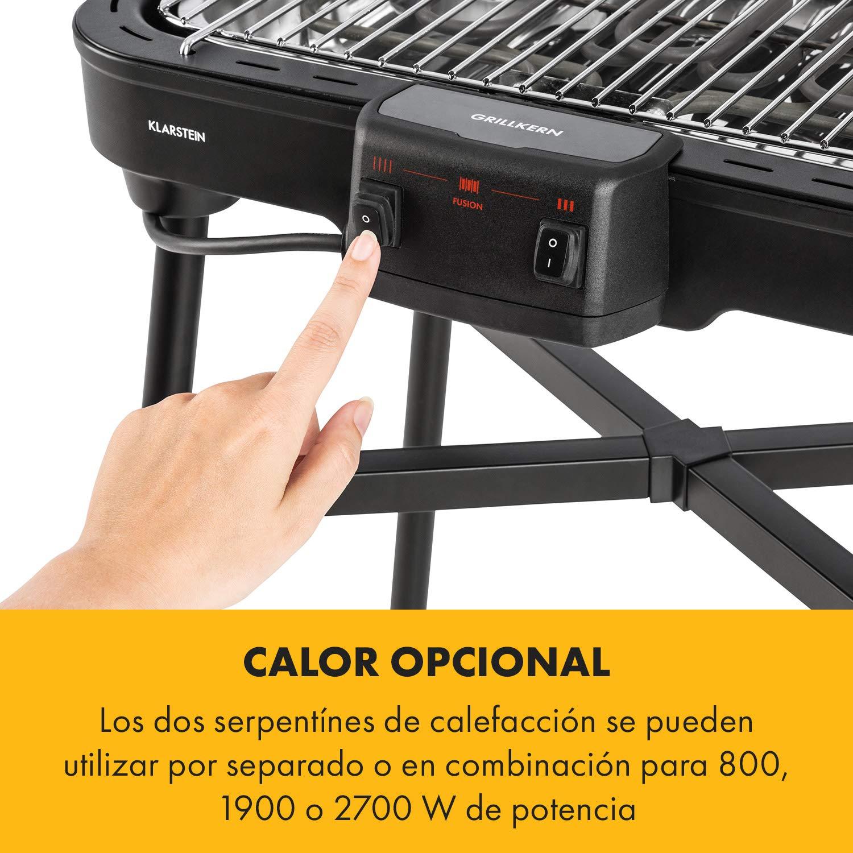 Ideal para Carnes 1900 Temperatura de 400 /°C Negro Klarstein Grillkern Barbacoa el/éctrica 3 Zonas de Calor Mesa de Barbacoa 800 W ReflectorBoost Parrilla Ocupa Poco Espacio