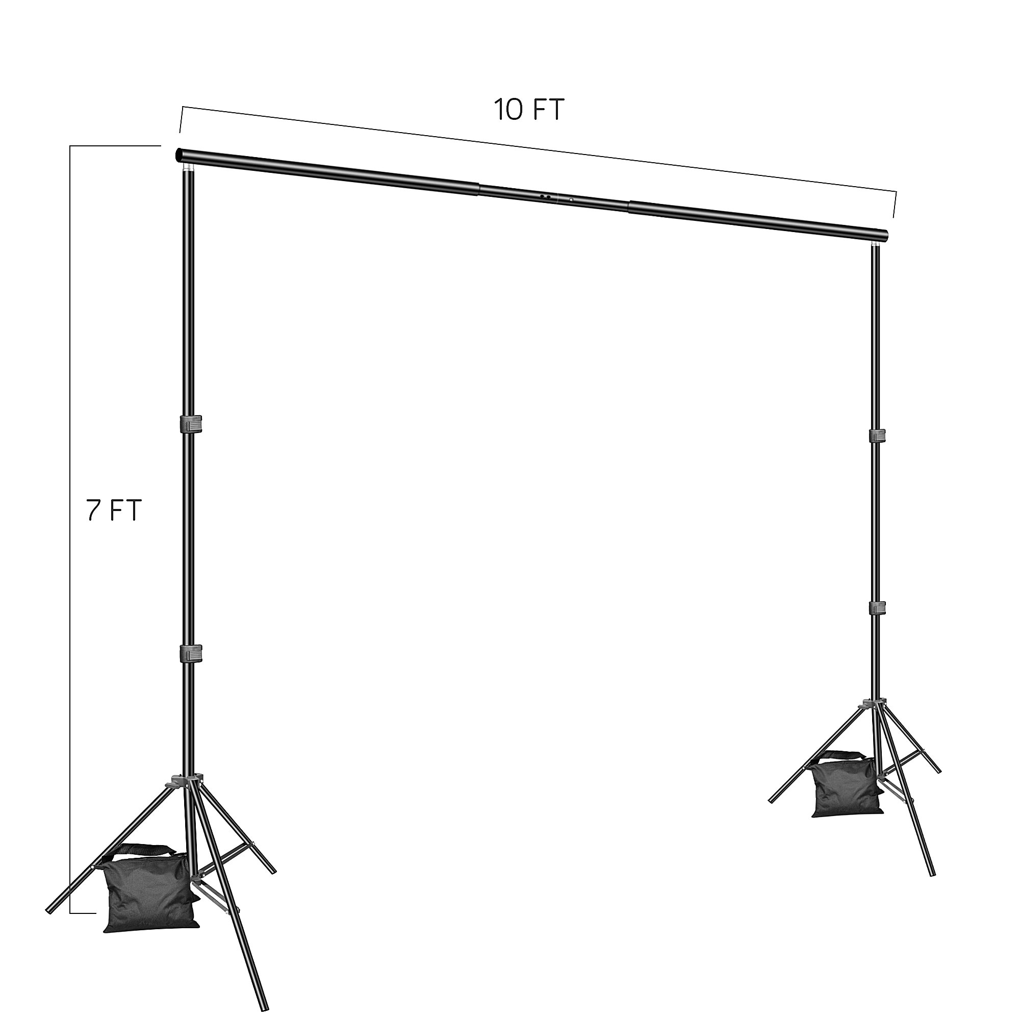 Backdrop Stand, Emart 7x10ft Photo Video Studio Muslin Background Stand Backdrop Support System Kit with Mini Ball Head, Photography Studio by EMART (Image #3)