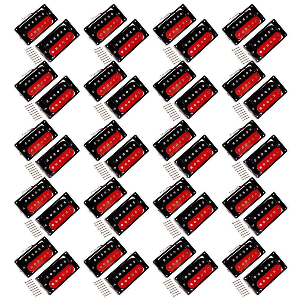 Kmise A6727 20 ダブルコイル ハム バッカー ネックブリッジ 6弦 エレキギター ピックアップ   B00RYSVTP6