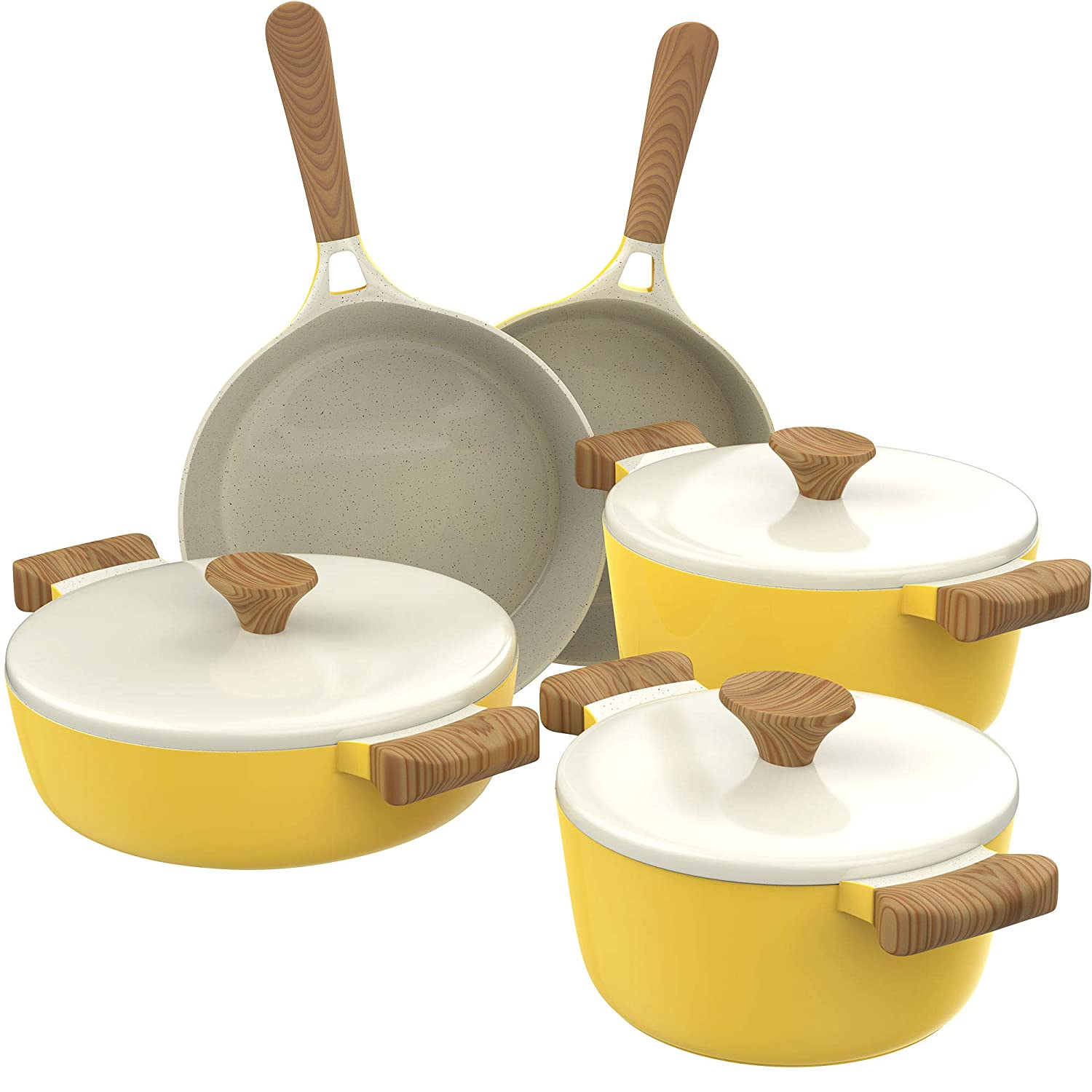 hOmeLabs Ceramic 8 Piece Cookware Set - Compatible with Induction Stovetop Non Stick Pots with Lids and Nonstick Frying Pans - Dishwasher Safe - Dutch Oven Pot Fry Pan Sets - PTFE PFOA Free - Yellow