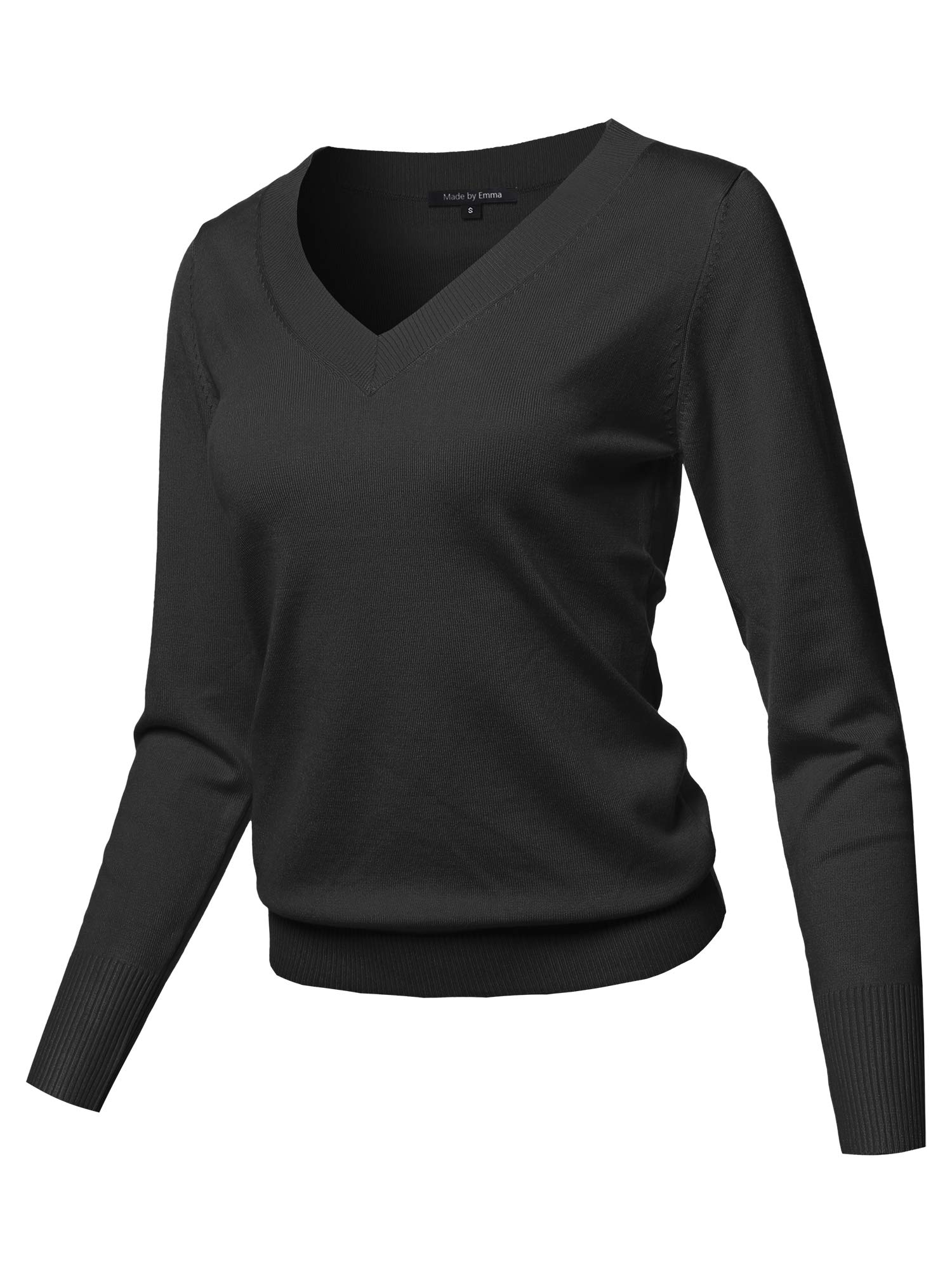 Casual Premium Quality Thick Neck Line Pullover V-Neck Sweater Top Black L