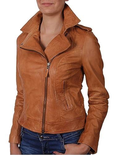 Brandslock para mujer chaqueta de motorista real cuero vendimia broncearse