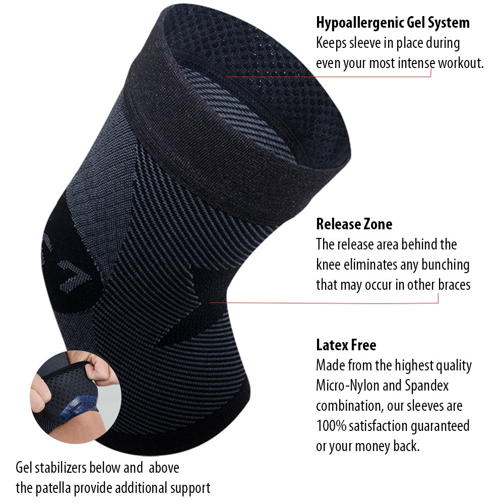 0b2b5555e548c2 Amazon.com: OS1st KS7 Knee Compression Brace (One Sleeve) stabilizes The  Patella, Injury Recovery and relieves Knee Pain from Runners Knee, Jumpers  Knee, ...