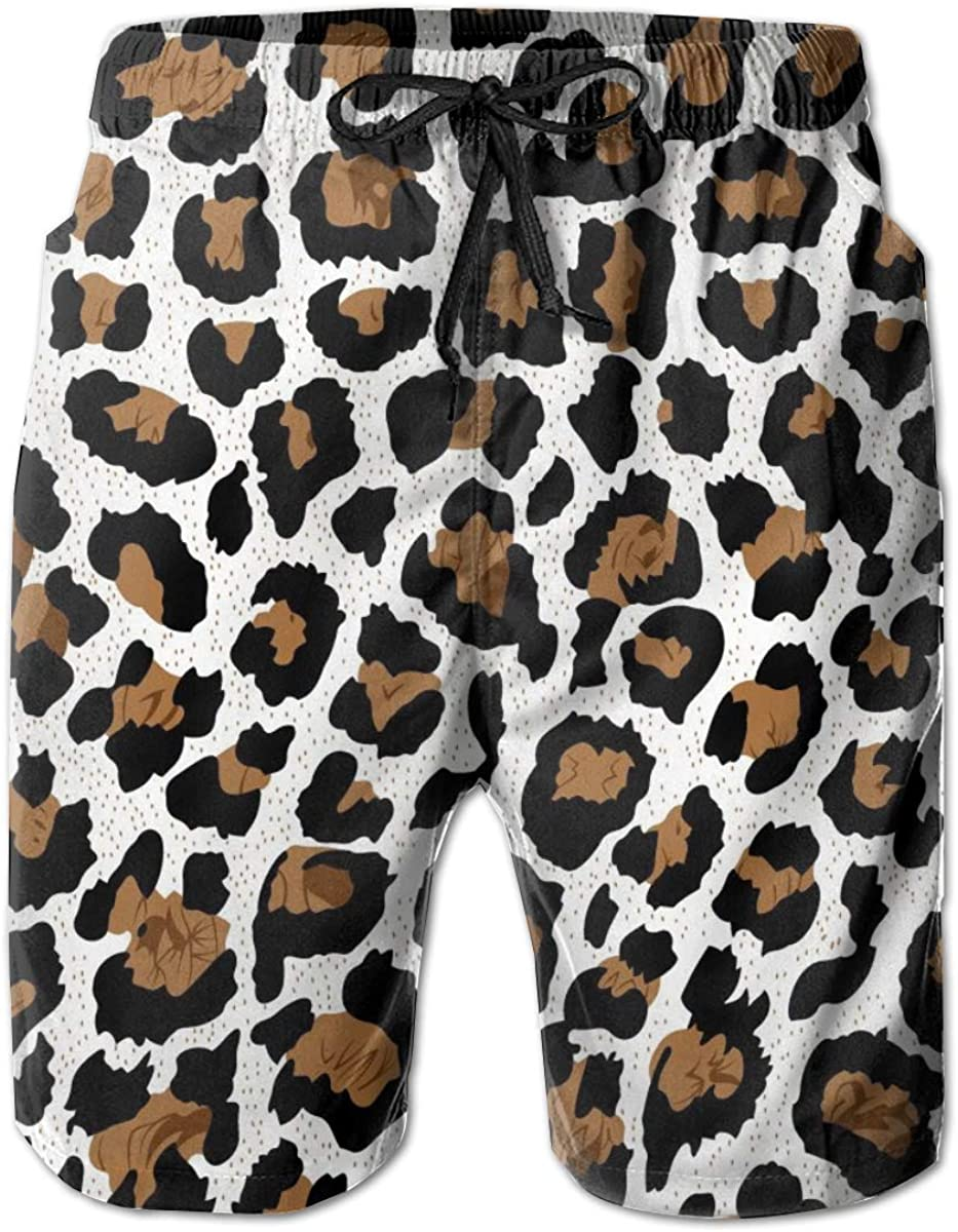 Leopard Print Mens Beach Shorts Swim Trunks Flat Front Shorts