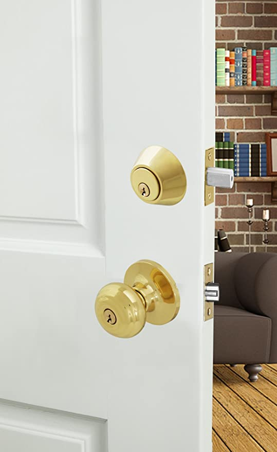 Honeywell 8101005 Classic Entry Knob Door Lock Combo Polished Brass