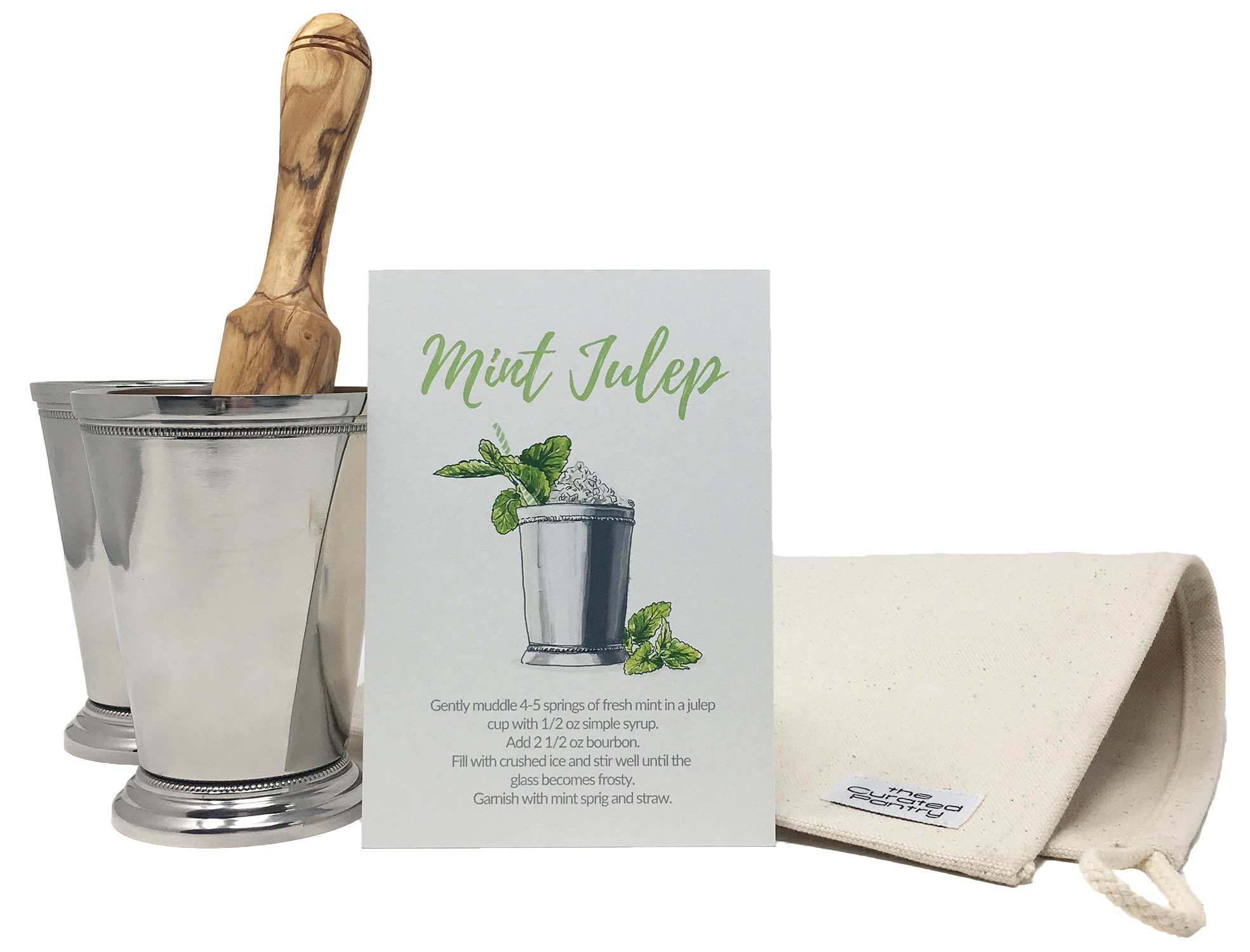 Mint Julep Cocktail Essential Tool Kit - (2) 12oz Cups, Lewis Bag, Muddler/Mallet and Recipe Card (5 items) by The Curated Pantry