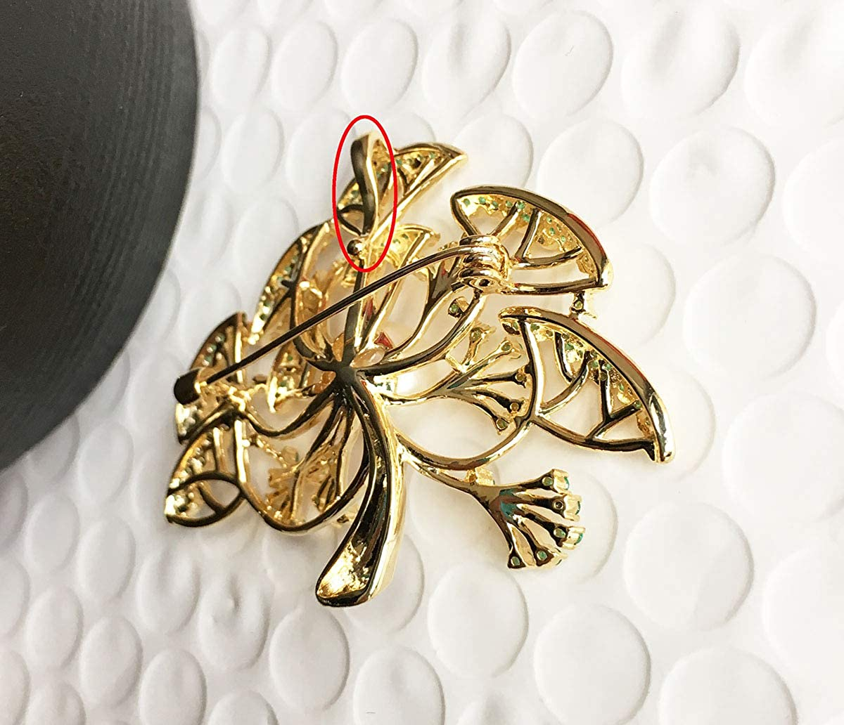 Xinruiyuan Golden Pine-Tree Brooch Pendant Women Wedding Party Dress Pearl