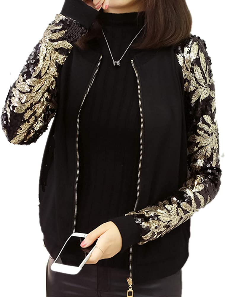 LY-VV Plus Size Women Bomber Jacket Sparkly Sequin Fitted Rib Zipper Front Blazer