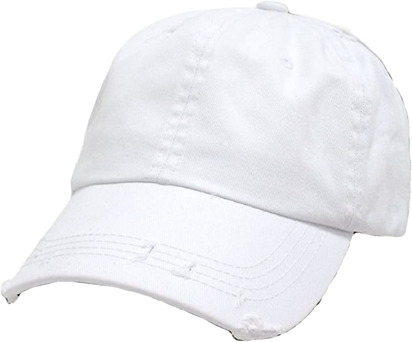 White Vintage Distressed Polo Style Low-Profile Baseball Cap Hat at Amazon  Women s Clothing store  Decky Hats 903c764becc