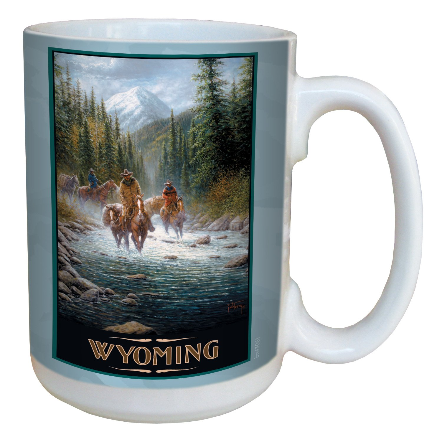 Tree-Free Greetings lm43061 Scenic Wyoming Cowboys by Jack Terry Ceramic Mug with Full-Sized Handle, 15-Ounce, Multicolored Tree Free