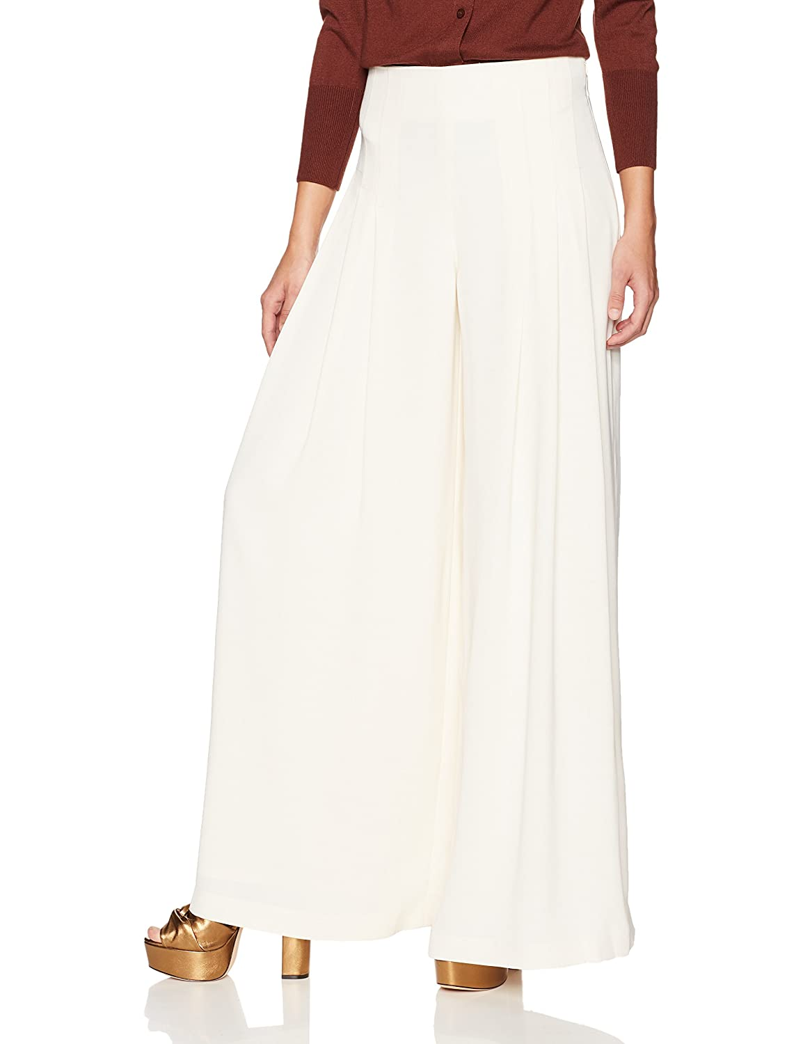 Cream Dear Drew by Drew Barrymore Women's Maiden Lane High Waisted Wide Leg Trouser