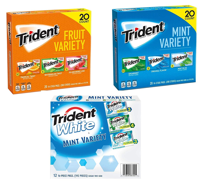 Trident Fruit and Mint Variety Pack Sugar Free Gum Bundle - 752 Total Sticks of Gum