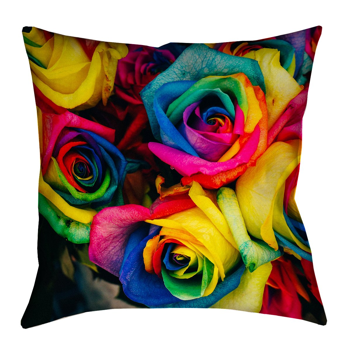 ArtVerse Denise Chan 14\' x 14\' Faux Suede Double Sided Print with Concealed Zipper & Insert Rainbow Roses Pillow