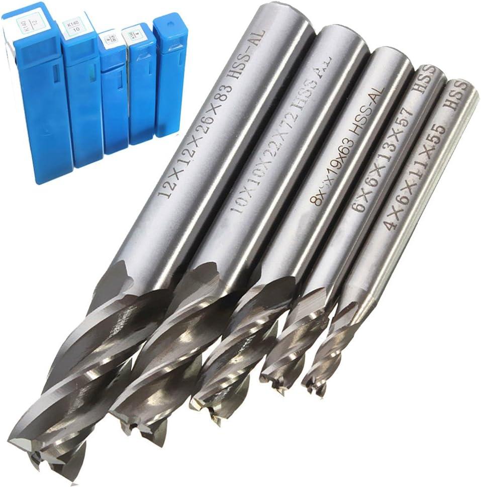 5Pcs//Set HSS CNC Straight Shank 4 Flute End Mill Cutter Drill Bit 4,6,8,10,12mm
