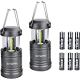 GYMAN Led Lantern Camping Lantern(2 Pack Collapsible) with 6 AA Batteries Ultra Bright with Magnetic Base Best Camping Equipment Gear Survival Kit for Emergency, Hurricane, Power Outage and Repairing