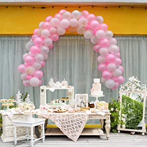 """Warmfits Balloon Garland Arch Kit 5"""" & 10"""" Hot Pink, Light Pink, Pearl White, Gold Confetti Balloons with Glue Dots, Garland Decorating Strip for Baby Shower Bridal Shower Engagement Wedding Birthday"""