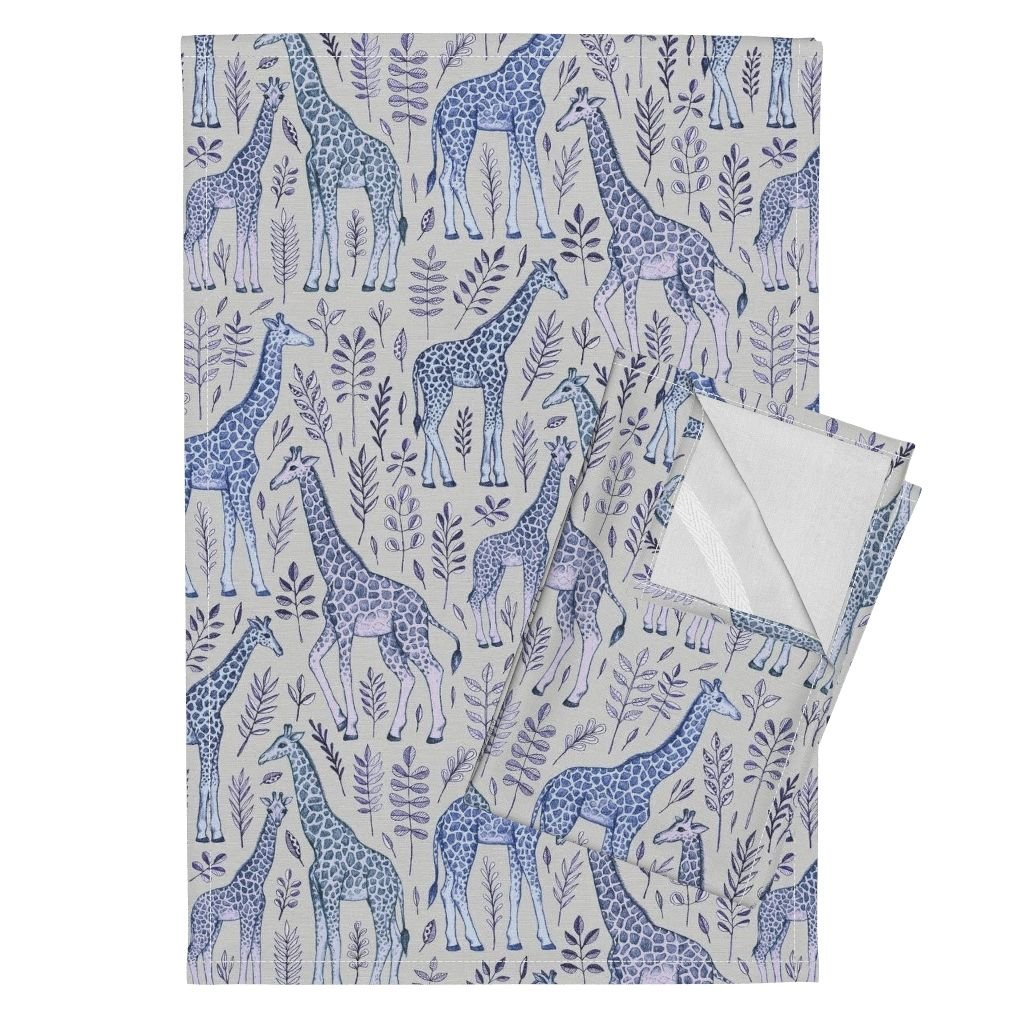Roostery Giraffe Leaves Drawing Pencil Blue Purple Animals Tea Towels Giraffes and Leaves in Blue by Micklyn Set of 2 Linen Cotton Tea Towels
