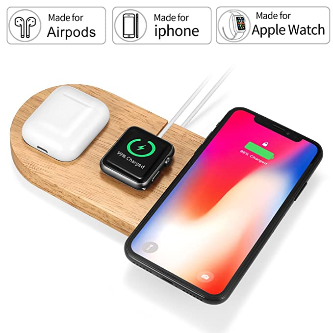 Rhidon Cargador inalámbrico estilo AirPower, 3 en 1 de madera para Apple Watch, Airpods Dock, Qi Fast Wireless Charging Pad para iPhone X/iPhone ...