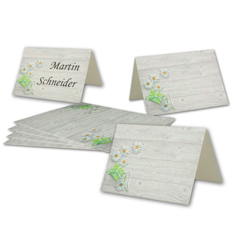 Glüxx-Agent Lot de 25 cartes de table imprimées Motif marguerites Format A7 7,4 x 10,5 cm