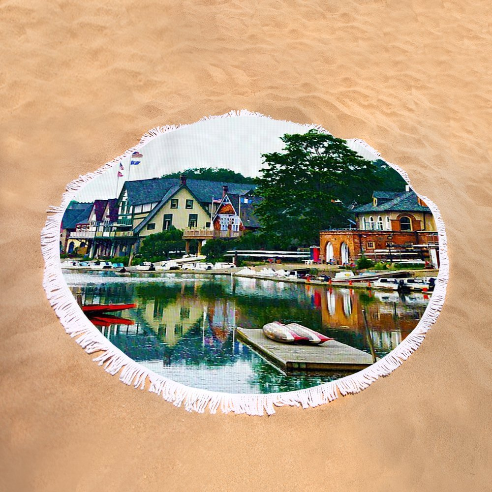 Pixels Round Beach Towel With Tassels featuring ''Boathouse Row In Philly'' by Bill Cannon