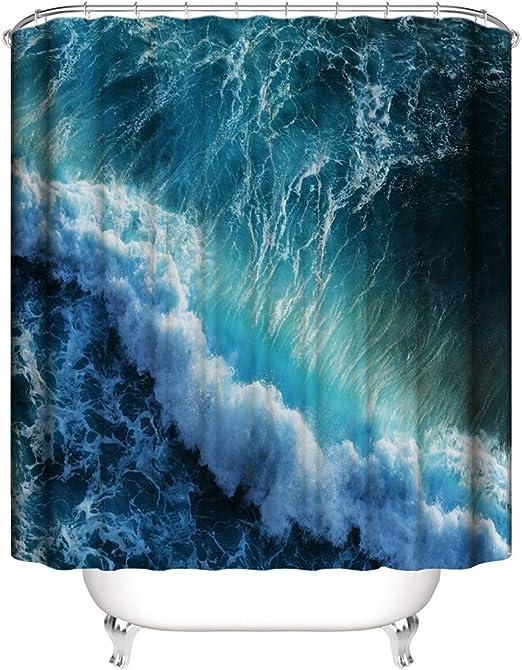 XIAOXINYUAN Impresión Digital En 3D Poliéster Cortina De Ducha De Olas Oceánicas Ganchos Mampara De Ducha A Prueba De Agua Decoración De Baño En El Hogar 180×200Cm: Amazon.es: Hogar