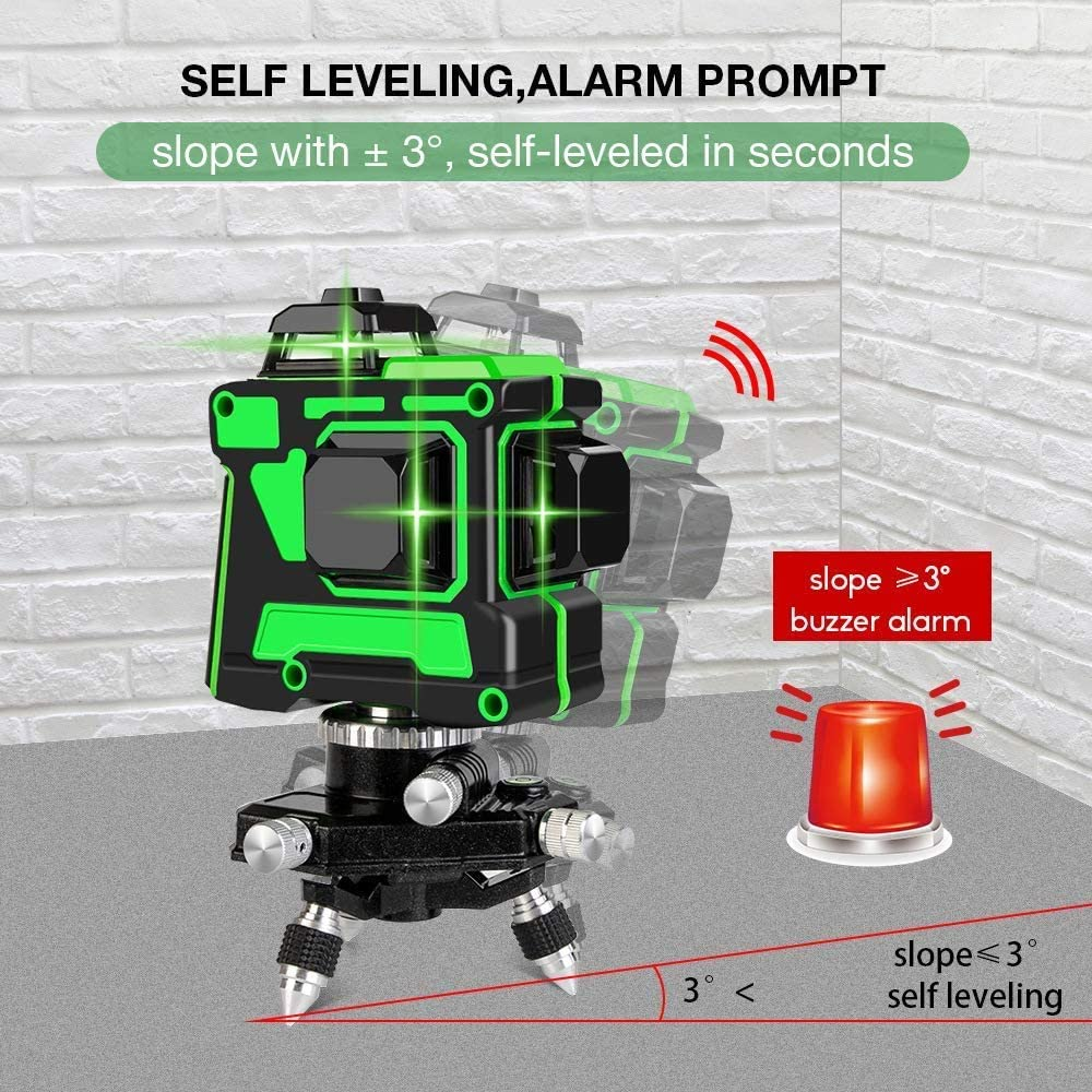 12 Line Green Laser Level Line Tool 100ft Cross Line Laser level Laser Line leveler Beam Tool with Horizontal and Vertical for for Construction Picture Hanging Wall Writing Self Leveling Laser Level