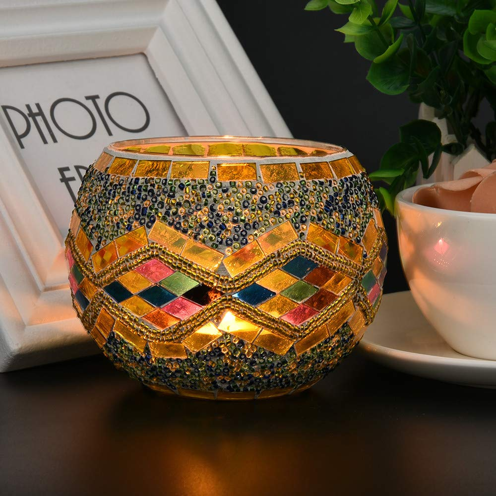 shamoluotuo Handmade Mosaic Glass Tea Light Candle Holders Coffee Wedding Table Decorative Centerpiece Candlesticks for Dining Home Pillar Stand Gifts for Thanksgiving Housewarming (A)