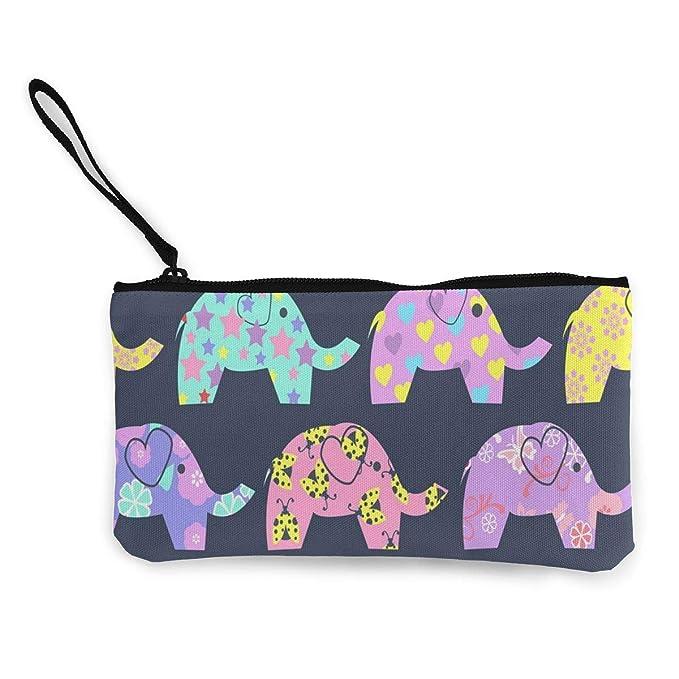 Wrution - Monedero De Lona Con Diseño De Elefantes...