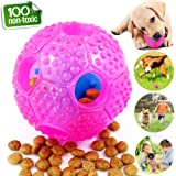 Interactive Dog Toys, Dog Chew Toys Ball for small Medium dogs , IQ Treat Boredom Food Dispensing, Puzzle Puppy Pals Tough Durable Nontoxic Rubber Pet ball, best Cleans Teeth dog balls (Blue) (Pink)