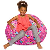 Posh Creations Bean Bag Chair for Kids, Teens, and Adults Includes Removable and Machine Washable Cover, 38in - Large, Canvas