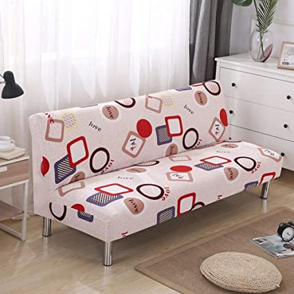 Sensational Lovehouse Surefit Armless Sofa Bed Covers Sofa Cover Stretch Polyester Printed Stain Resistant Sofa Slipcover Protector For 2 3 4 Seat Couch Living Bralicious Painted Fabric Chair Ideas Braliciousco