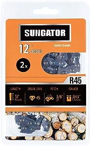 "SUNGATOR 2-Pack 12 Inch Chainsaw Chain SG-R45, 3/8"" LP Pitch - .043"" Gauge - 45 Drive Links, Fits Craftsman, Husqvarna, Ryobi, Dewalt"