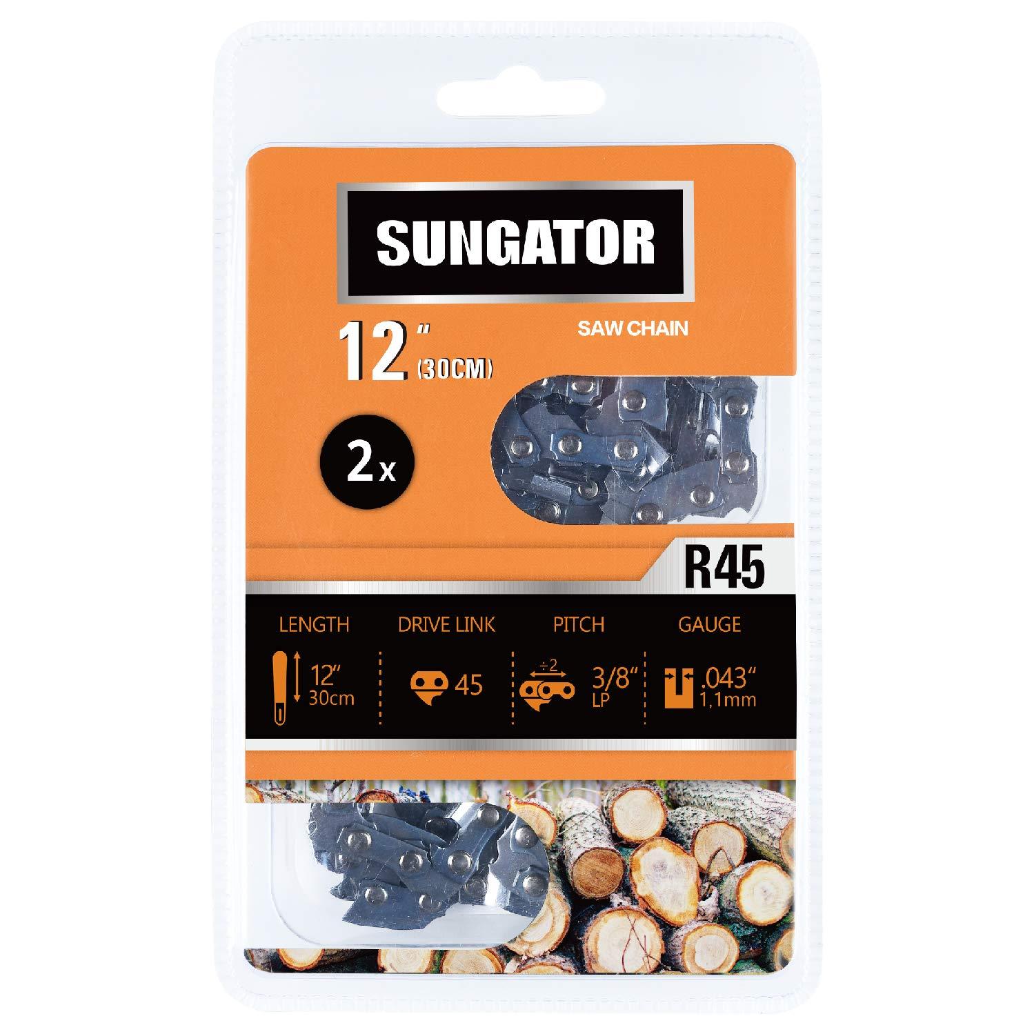 SUNGATOR 2-Pack 12 Inch Chainsaw Chain SG-R45, 3/8'' LP Pitch - .043'' Gauge - 45 Drive Links, Fits Craftsman, Husqvarna, Ryobi, Dewalt by SUNGATOR