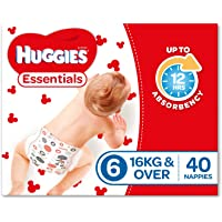 Huggies Essentials Nappies, Size 6 Junior (16+kg), 40 Count
