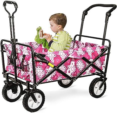 GARDEN CAR ZLMI Jardín Coche portátil al Aire Libre Remolque para Mascotas Puede Sentarse y Poner niños Tour Coche fácil de Limpiar Carga 80Kg,D: Amazon.es: Hogar